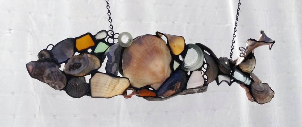 "SHELL FISH 2 ~ 6""X22"" Repurposed beach shells,  beach glass and metal"