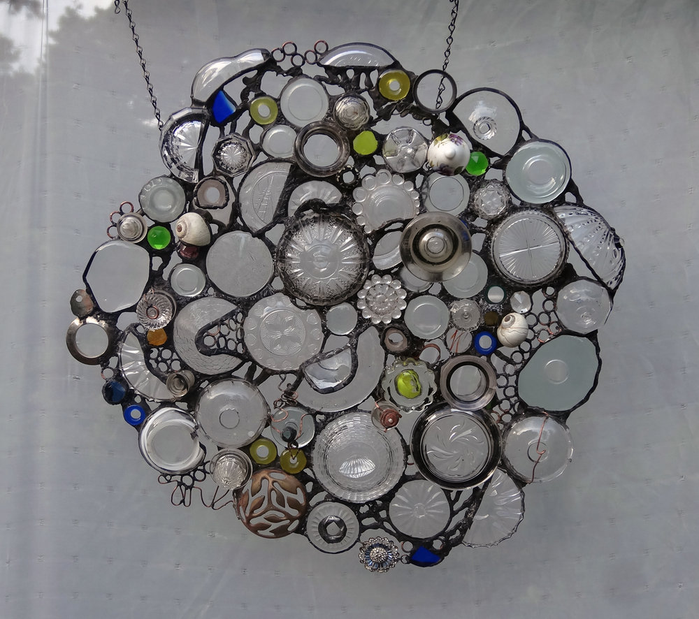 "ENDLESS CIRCLES~21""X21"" Recycled glass and hand-forged metal"