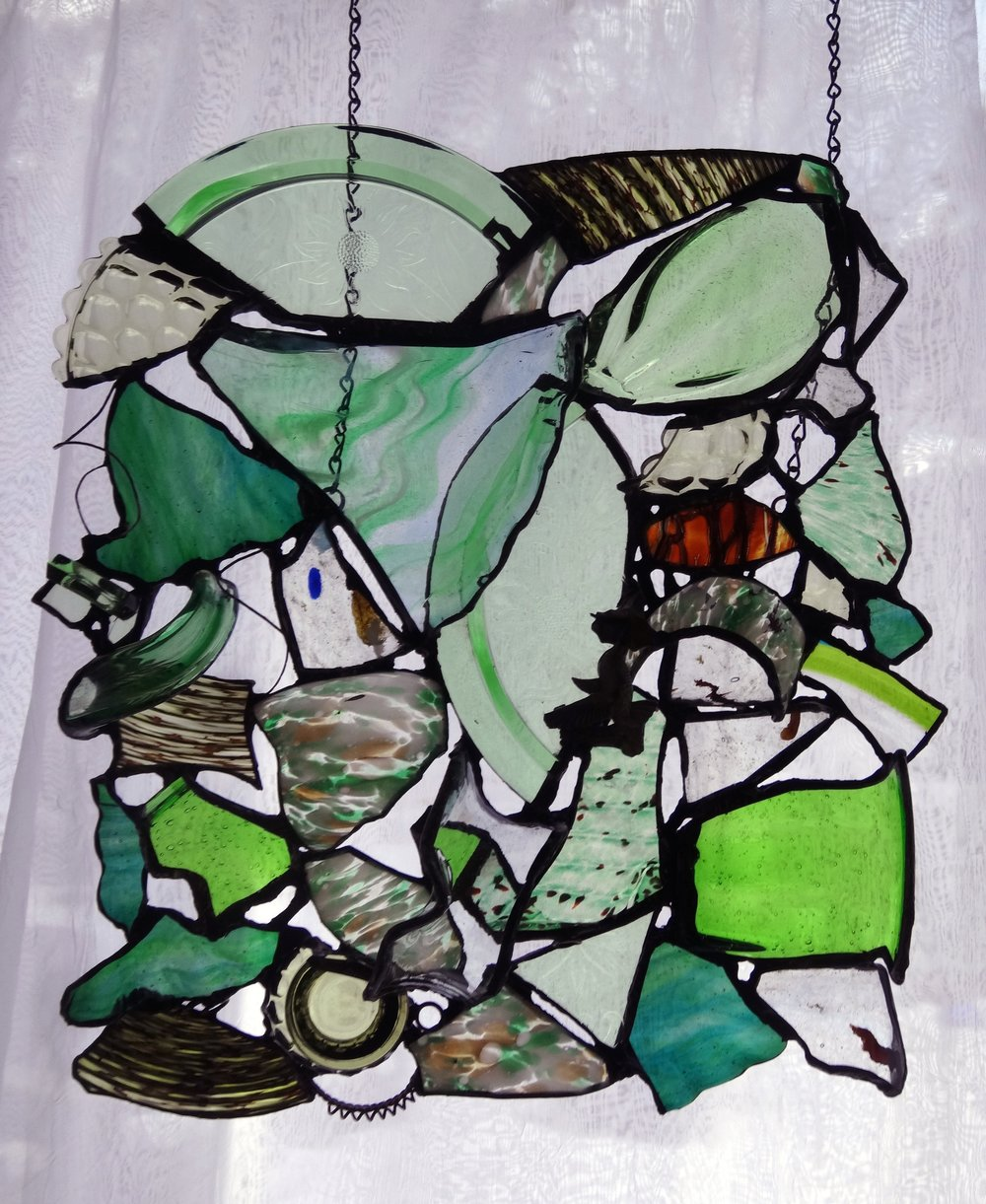 """BURST OF SPRING ~ 18""""X16"""" Repurposed glass and hand-forged metals"""