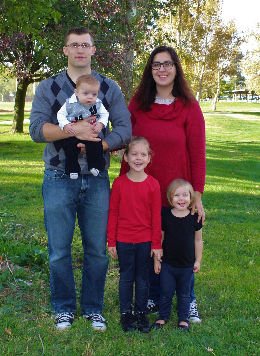 Zach and Katie Erickson with their three children: Sofia, Olivia, and James. Zach serves as an usher, and Katie is the incoming treasurer, beginning in July.