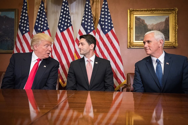 President Trump, Speaker Paul Ryan and Vice President Mike Pence meet on Capitol Hill (Photo: Caleb Smith /    Wikimedia   )