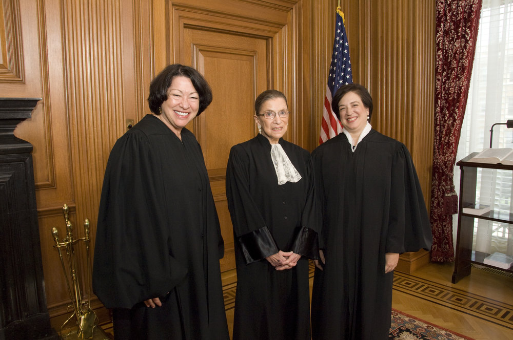 Supreme Court Justices Sonia Sotomayor, Ruth Bader Ginsburg and Elena Kagan (Photo: Steve Petteway /   Wikimedia   )
