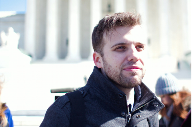 David Altrogge, director of 3801 Lancaster: American Tragedy, at the Supreme Court on March 2 (Photo: Josh Shepherd)