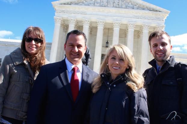 3801 Lancaster producer Jen Brown (L), Texas Values President Jonathan Saenz, Nicole Hudgens of Texas Values and 3801 Lancaster director David Altrogge outside the U.S. Supreme Court (Photo Courtesy of Jen Brown)