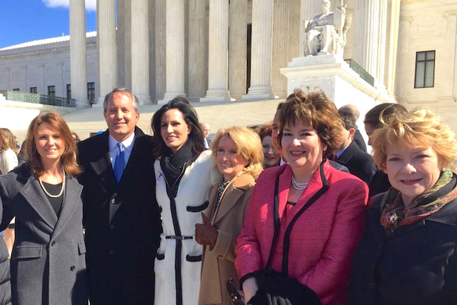 Outside the Supreme Court on March 2, Texas Attorney General Ken Paxton stands with State Rep. Jodie Laubenberg (center) and other leaders (Photo: Office of Ken Paxton /    Twitter   )