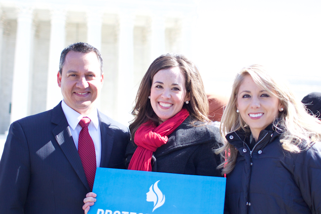 Jonathan Saenz with Nicole Hudgens (R) and Christiana Holcomb outside the Supreme Court (Photo: Josh Shepherd)