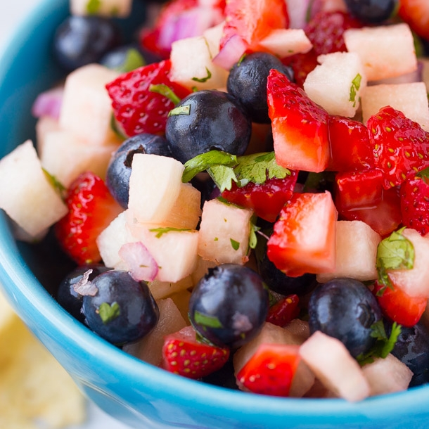 fresh fruit salad with blueberries and strawberries for Independence Day Fourth of July