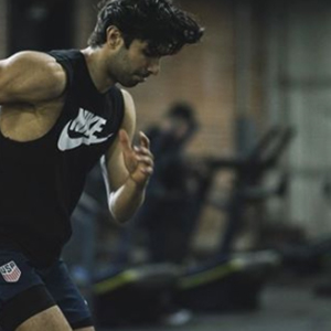 Akin Akman Instagram running in black Nike shirt
