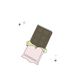 Dark chocolate in wrapper illustration