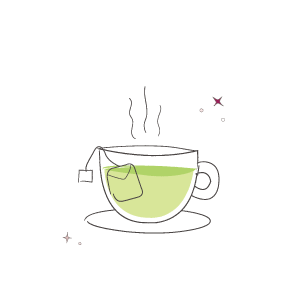 Cup of green tea with bag illustration
