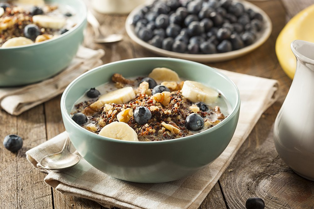 cereal bowls with blueberries bananas fiber grains and nuts