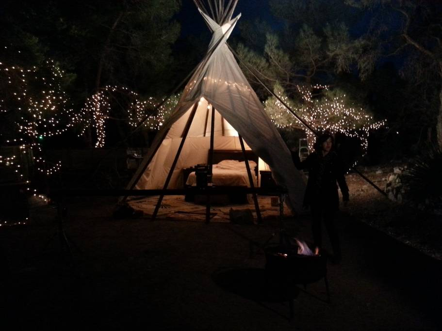 TIPI In The Pines at Wild Sage Ranch AirBnb teepee near Las Vegas Nevada