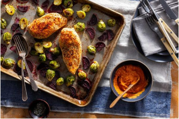 Roasted Chicken Breasts & Winter Vegetables with Romesco - Mediterranean, Gluten-Free, Paleo, Soy-Free