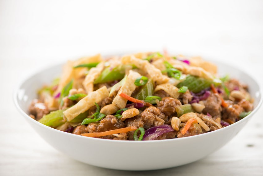 Pork Egg Roll in a Bowl - With crispy wontons and peanuts