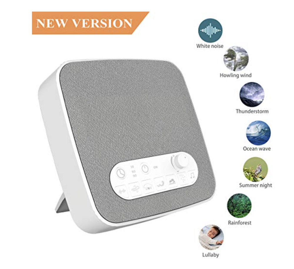 This portable white noise machine has 7 soothing sounds to help you relax and sleep better.