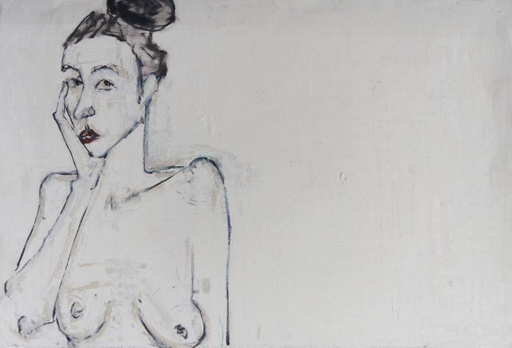 "Nancy Rosen 44""x30"" Mixed media on paper"