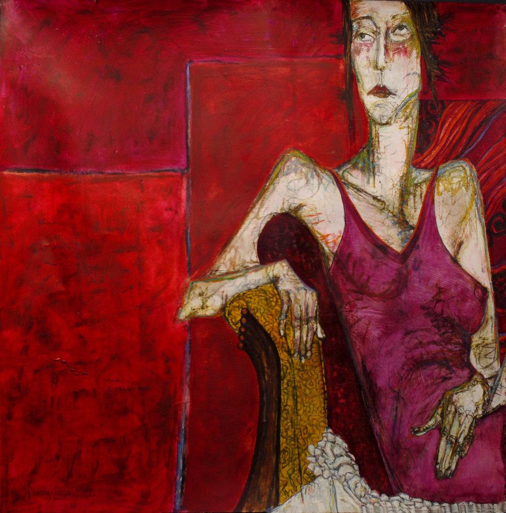 "Nancy Rosen 50""x50"" Mixed media on paper"