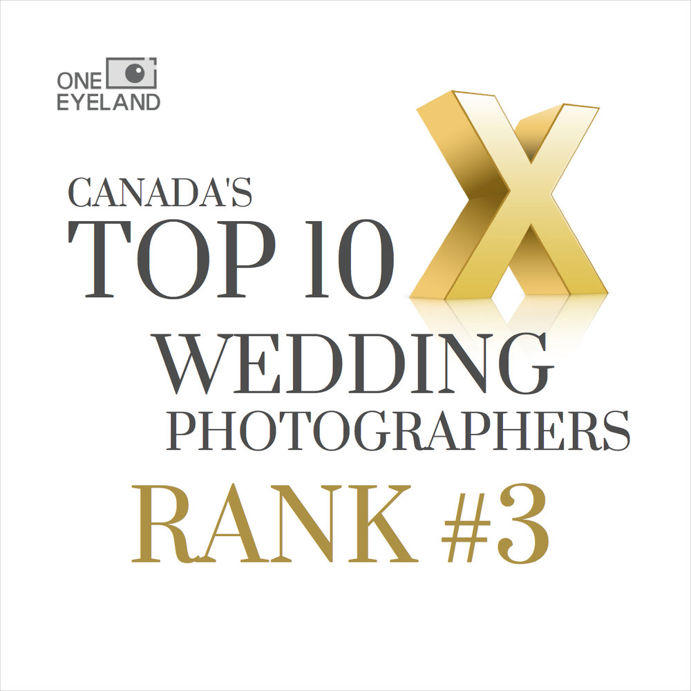 Ranked 3rd in Canada - We were ranked 3rd best wedding photographer in Canada at the 2017 One Eyeland awards. A great achievement!