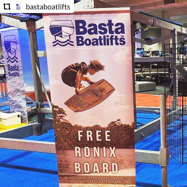 #RepostPlus @bastaboatlifts - - - - - - Free Ronix Wake Board when you buy a Basta boat lift at the Seattle Boat Show #boathappy #ronixwakeboards #gobasta #seattleboatshow