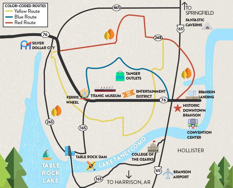 Branson, MO map courtesy of ExploreBranson.com
