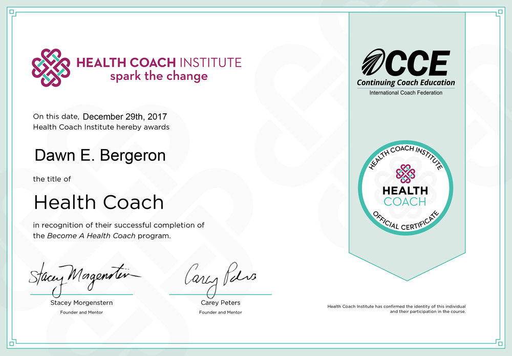 Health coach institute - Certified Health Coach