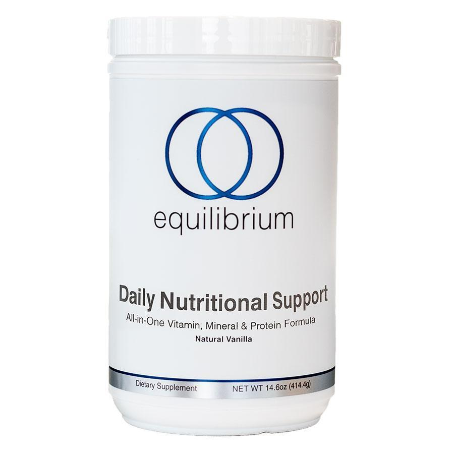 "Equilibrium Daily Nutritional Support Shake     Vanilla Flavor   The Daily Nutritional Support Shake (DNS) was created to be Dr. Cabral's private clients ""One Stop Shop"" when it came to taking multi-vitamin, mineral, electrolyte energy blend, antioxidant, and detox support formulas.  Has 15g of vegan protein from hypoallergenic rice & pea in order to make it a complete meal. You can now literally wake up, make a smoothie with my all-natural Daily Detox Shake and take all of your supplements for the day! And, for less than $2.50/day you're saving hundreds of dollars per month.   12 SUPPLEMENTS IN 1   The Daily Detox Shake is more then 12 different nutritional supplements in one at a fraction of the price! It is literally the best product available at the best price.   Compare by following this link for yourself and see how you could be saving at the same time you're getting healthier & transforming your body."