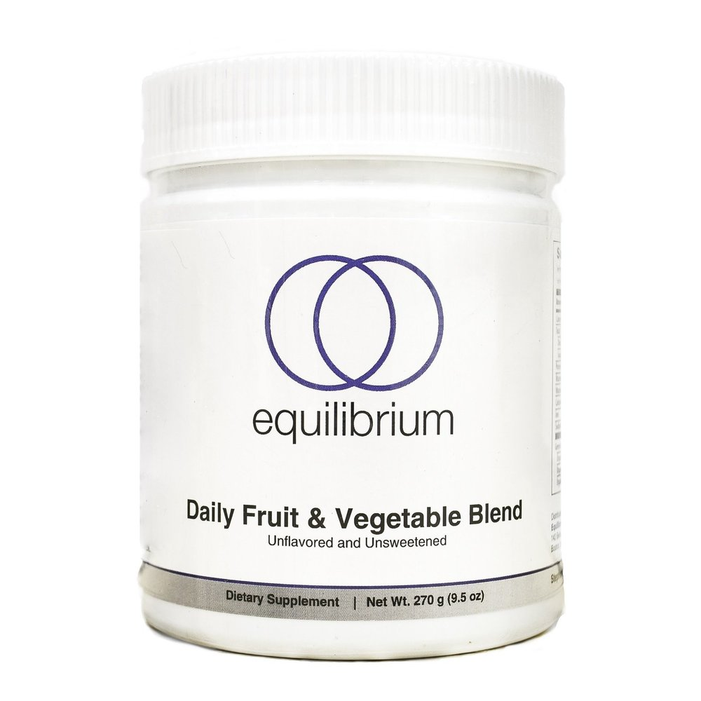Equilibrium Daily Fruit and Vegetable Blend    Think about how much healthier you'd be if you added 22 organic fruits & vegetables to your diet every day. It's time to make the switch and begin to enjoy all the benefits of improved energy, mood, skin, hair, nails, health, and overall vibrancy.  Dr. Cabral uses this exact product every morning as part of his daily health protocol .  The vegetable, fruit, and berry ingredients are brightly colored and non-oxidized, as the powders are protected from heat, UV light and moisture from start to finish. These greens have a Paleo profile; they contain no grains, legumes, alfalfa, corn, gluten, fructose or artificial sweeteners.  Unlike other greens products, we never add inexpensive fillers or bulking agents such as fiber, whole grasses, pectin, rice bran, and/or flax, which account for 40% to 60% of the content of most other greens products.  Plus, using 1 TBSP of Dr. Cabral's  Daily Fruit & Vegetable Blend  is simple...it mixes instantly in water or in a shake without any blending needed and there's no messy clean up!