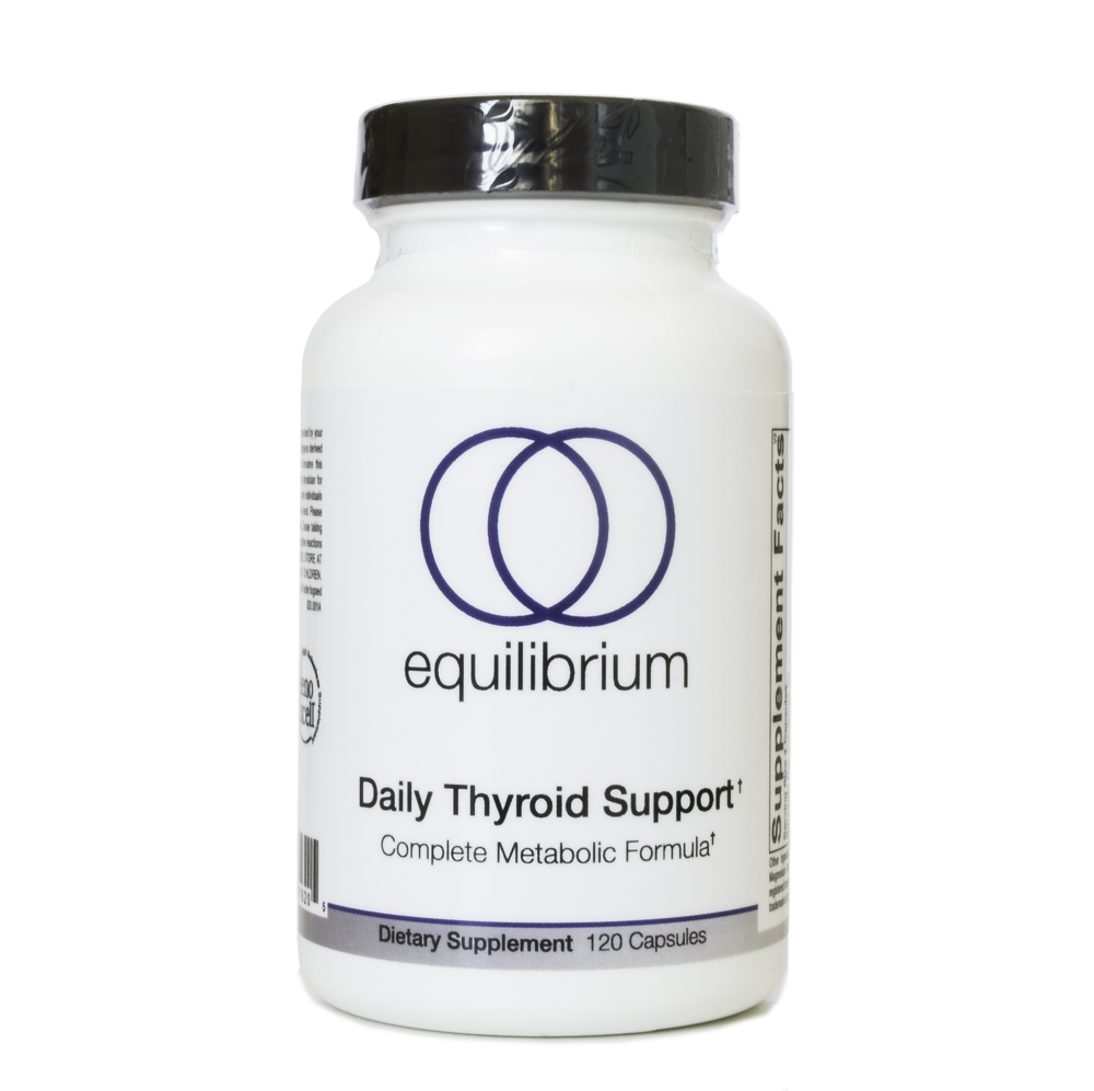 Daily Thyroid Support    Both conventional and naturopathic medicine agree that your thyroid needs very specific nutrients in order for it to function properly. Without those nutrients, you cannot expect it to have the raw material to actually create enough thyroid hormone to operate at an optimal level. And when it's not functioning well, your body and brain will present very specific symptoms.   DO YOU SUFFER FROM:    Brain fog, Slow metabolism, Weight gain, Hard to lose weight, Dry skin, Poor digestion, Low mood or depression, Elevated levels of cholesterol, Thinning hair, Weakened immunity, Fatigue   If you answered yes to more than one of the symptoms above you may be suffering from lowered thyroid function.   ADD BACK WHAT IS MISSING   One of the best places to start to boost your metabolism, brain, and thyroid is by replacing what is missing. Essentially, you are replenishing your deficiencies and simply giving your body what it needs to make thyroid hormone. After all, without these raw materials, how are you supposed to make enough thyroid hormone? This is when Orthomolecular and Functional Medicine are at their best, since science has proven the exact nutrients needed by your thyroid. Those vitamins, mineral, amino acids, neurotransmitters, herbs and other cofactors that boost thyroid function are:   Vitamin A, Vitamin C, Vitamin E, Zinc, Copper, Selenium, Iodine, l-Tyrosine