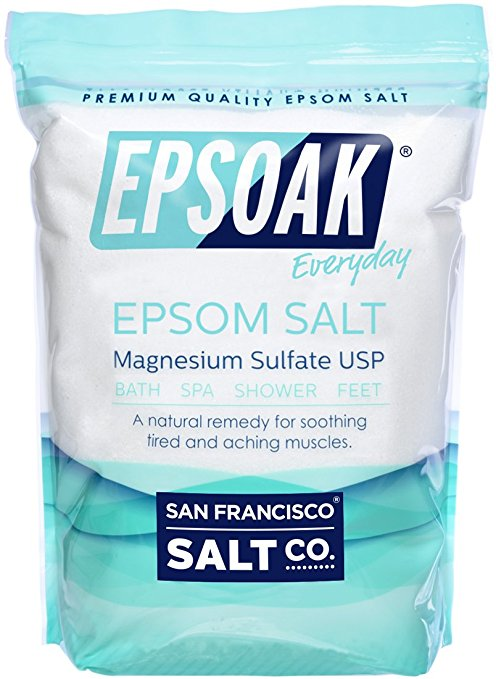 Epsom Sals - (Fragrance Free)     Epsom Salt  is a pure mineral compound (Magnesium Sulfate) in crystal form. Soaking in an Epsom Salt bath is one of the most effective means of  making the magnesium your body needs readily available.   Known for its  premium quality and many therapeutic uses , Epsoak Epsom Salt dissolves easily in warm water to  help soothe muscle pain, relieve aching feet, cleanse pores, and detoxify the skin . Epsoak is a naturally translucent/white salt in medium grain (0.2-3mm).