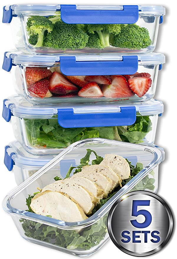 Glass Dish Set - 5 Sets    36 Oz. Glass Meal Prep Containers with Lifetime Lasting Snap Locking Lids Glass Food Containers BPA-Free, Microwave, Oven, Freezer and Dishwasher Safe (4.5 Cups, 36 Oz.)