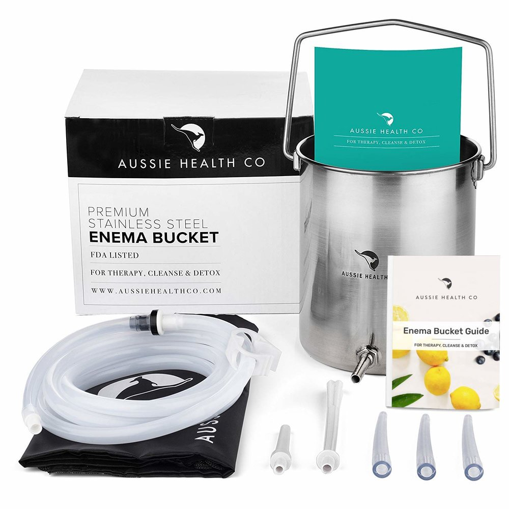 Coffee Enema Kit - Stainless Steel    FDA LISTED ENEMA BUCKET KIT | designed for Australian and American health standards with premium-purity(tm) #304 grade stainless steel and other materials. This colon cleansing enema bucket is made with medical grade, reusable, odorless, BPA and phthalates free stainless steel, silicone and PVC tips.  VERSATILE LONG 6.5FT SILICONE TUBING | and strong durable clamp. This enema cleansing and detox equipment is ideal for home use and can be used for water and/or coffee enemas in or out of the shower. Open top stainless steel enema bucket allows for easy cleaning.