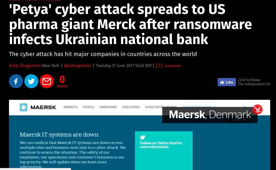 Merck affected by Ransomware