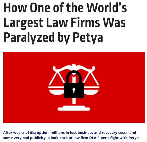 DLA Piper paralyzed by Petya Ransomware