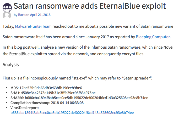 Satan ransomware adds EternalBlue exploit