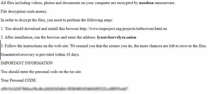 Example Nozelesn ransom notice .txt file