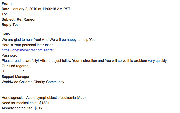 Cryptomix correspondence sites fictitious charity, but a real child's cancer case