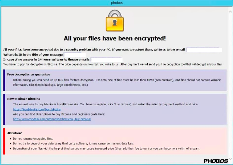 Example ransomware notice