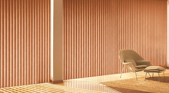 SOMNER®Our Somner® Custom Vertical Blinds offer the largest selection of colours, treatments, and textures; from smooth metal finishes to geometric patterns—in fabric, vinyl, and aluminum. -