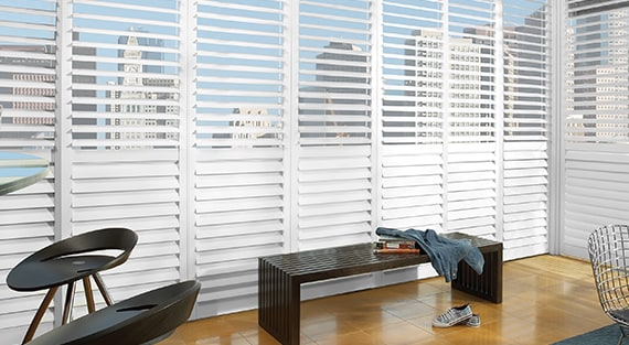 NEWSTYLE®The NewStyle® Hybrid Shutters are plantation-style shutters that blend the beauty of real wood and advanced modern-day materials to create a stunning and durable window covering for any room. -