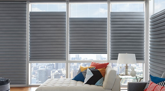 SOLERA®Made of woven and non-woven fabrics, Solera® Soft Shades create a fluid, sculpted look. It is a soft shade with cellular construction available in both light-filtering and room-darkening options. -
