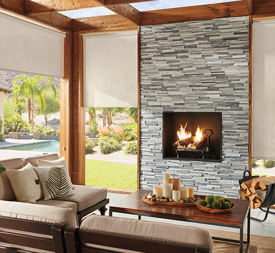 comfort in outdoor spacesPorches, patios, and decks allow you to connect with the natural beauty of the outdoors and extend the living space of your home. With the addition of Graber LightWeaves®Exterior Solar Shades, these areas can also be comfortably protected from intense sun and excessive heat. -