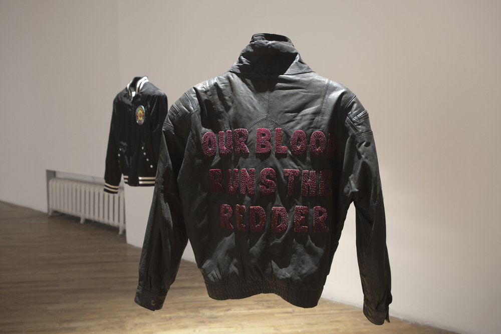 Our Blood Runs the Redder , beaded letters and sinew on thrifted leather jacket, 2018