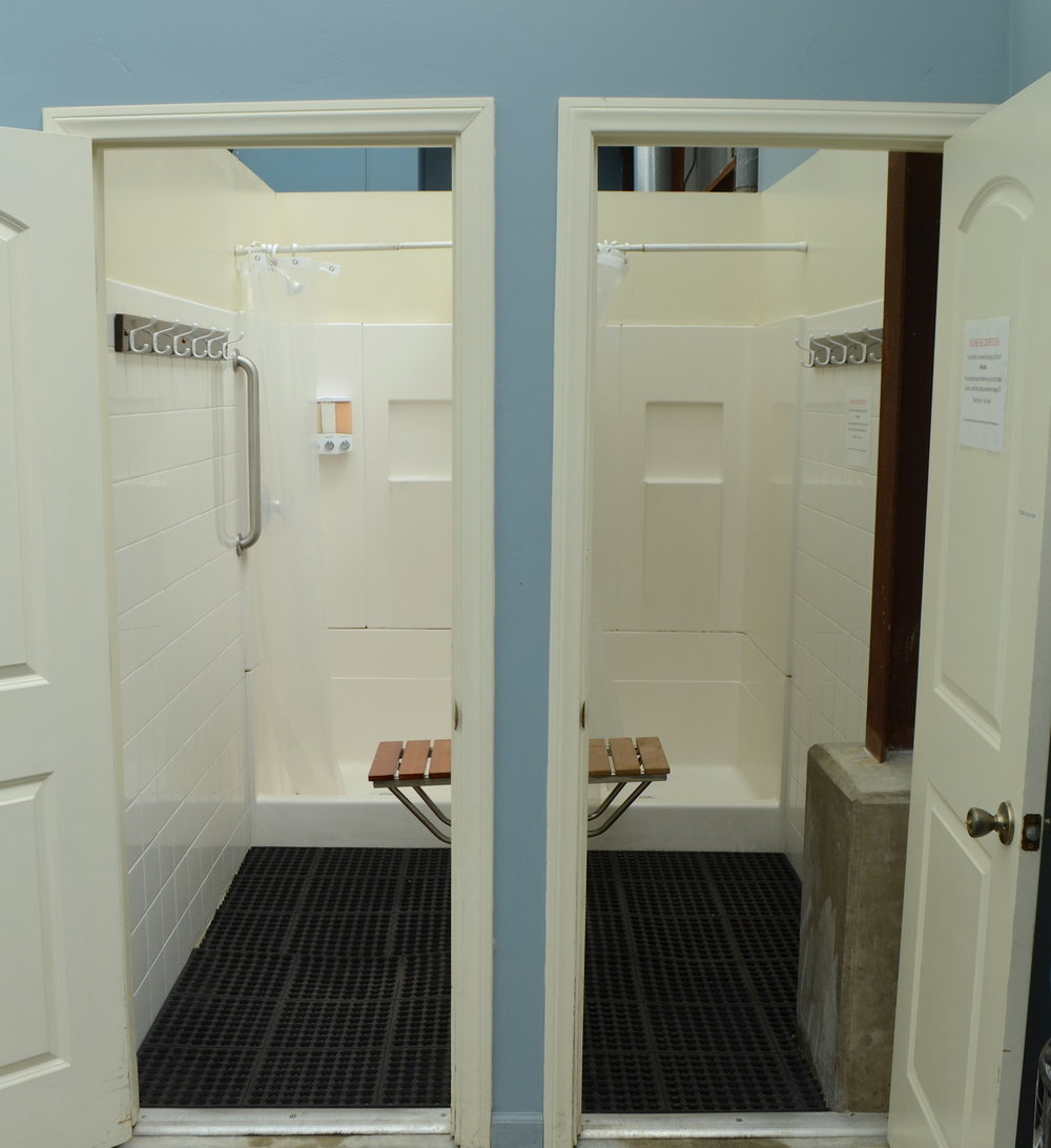 Private changing rooms with showers