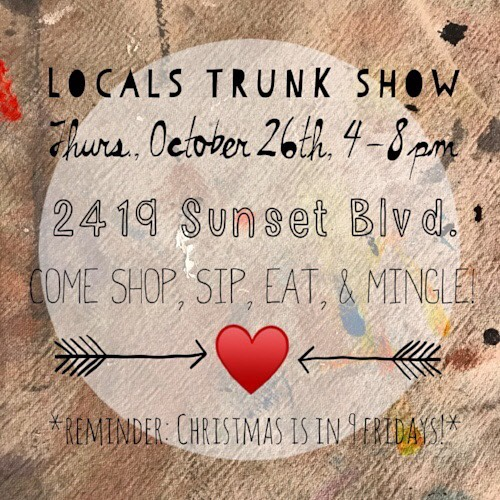Houston friends, come check out a holiday trunk show at @the_lark_shop tonight! #houston #houstonartist #trunkshow #handmadeisbetter
