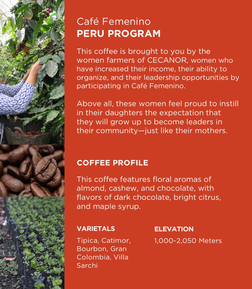 Café Femenino Peru 12 oz bag - $13 - Single Origin. Fair Trade. Organic.