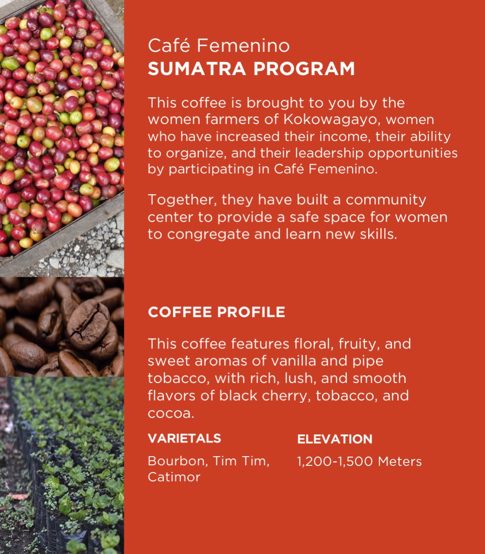 Café Femenino Sumatra  12 oz bag - $15 - Single Origin. Fair Trade. Organic.
