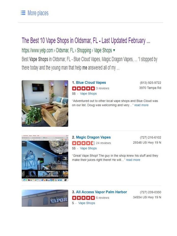 1 Vape Shop in Oldsmar - YELP — BLUE CLOUD VAPES