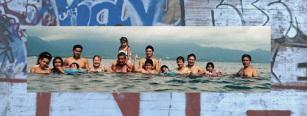 Family reunion in Guayabitos, Nayarit (mid-1990s) / photo collaged over graffiti wall in LA