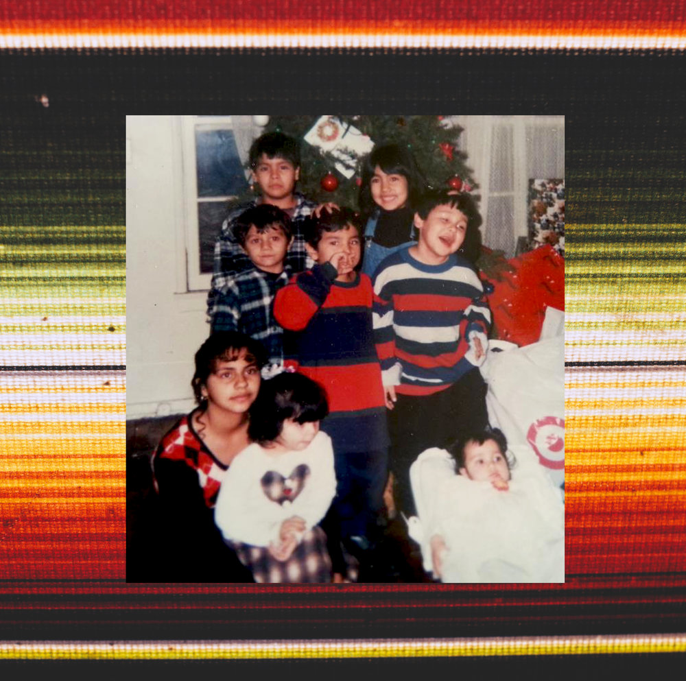 Cousins on Christmas in Reseda, CA (mid-1990s) family photo collaged over blanket image.