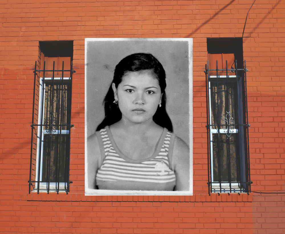 My mother's portrait (mid 1980's), family photo collaged over image of LA apartment building